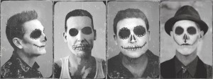 Photos of each band member in Dia de los Muertos makeup