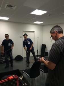 Steve, Tony, and Paul setting up the PA system in the room where we performed