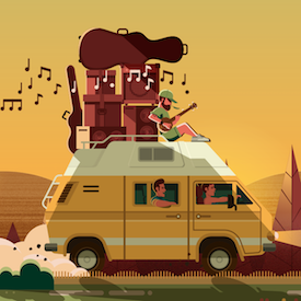 Van illustration from The Green Escape logo
